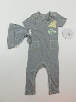 Burt's Bees Boys Organic Cotton Coverall Romper & Hat 2 Piece Set 0-3 Months NWT Boys 2 Piece Romper