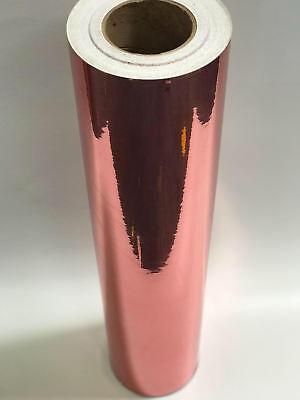 Rose Gold Chrome Mirrored Self Adhesive Sign Vinyl Decorative Film A4rolls