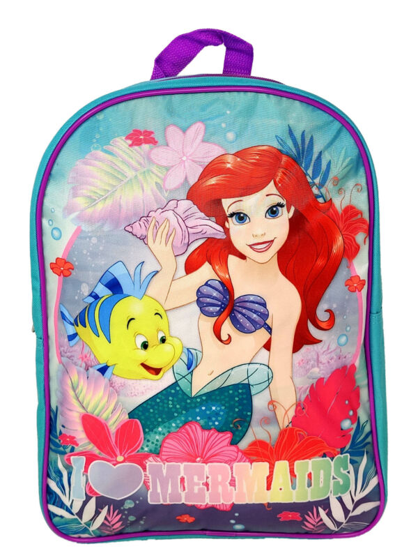 "Girls Disney The Little Mermaid 15"" Backpack Ariel Flounder I Love Mermaids"