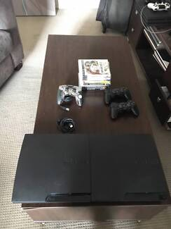TWO PlayStation 3s - 3 Controllers - 9 games