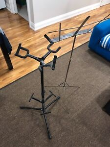 Triple guitar stand and musical stand