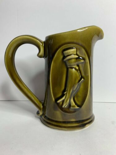 "RARE Vintage Old Crow Kentucky Straight Bourbon Whiskey 7"" Green Pitcher"