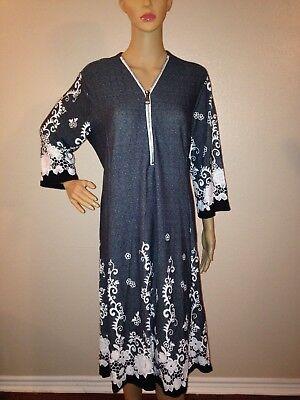 NWT Ladies Plus Size DIVA D Gray & White Floral Zipper 3/4th Sleeve Dress 2XL