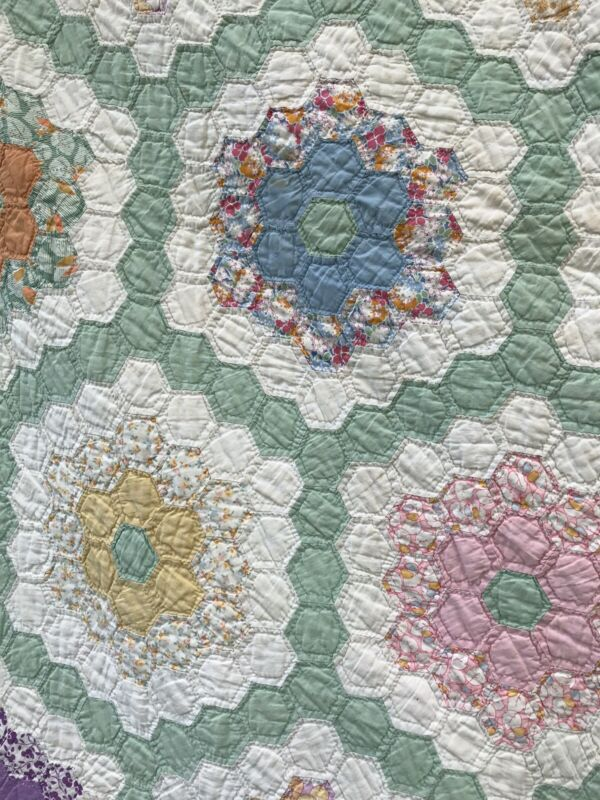 Antique Grandmothers Garden Quilt Over 100 Years Old
