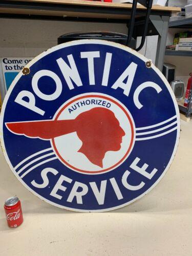 """PONTIAC SERVICE"" LARGE, HEAVY DOUBLE SIDED PORCELAIN DEALER SIGN (30"" INCH)"