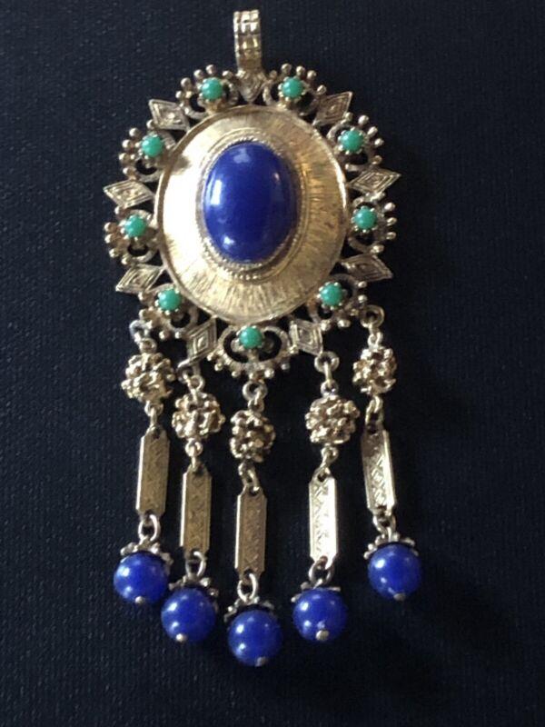 Art Deco Era Gold and Lapis Pendant-Heavy, Oversized, Ornate 3.5 Inches