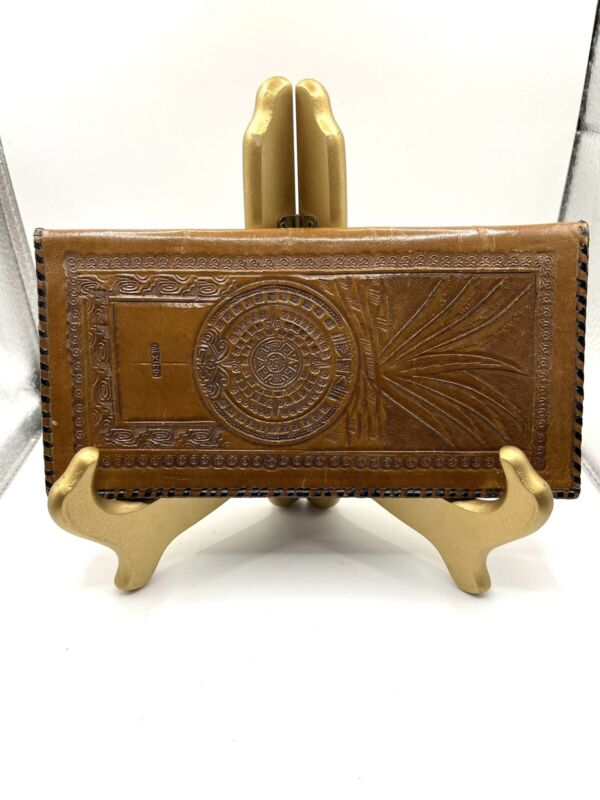 Vintage Mexican Hand Tooled Leather Wallet Aztec Pyramid Calendar