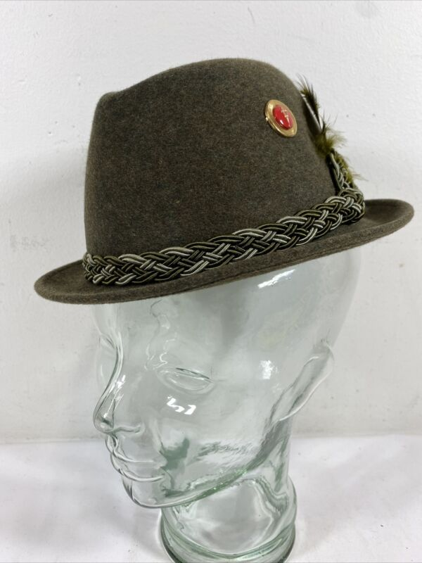Vintage Hugger Mens Wool Fedora Hat with Feather Green 6 7/8