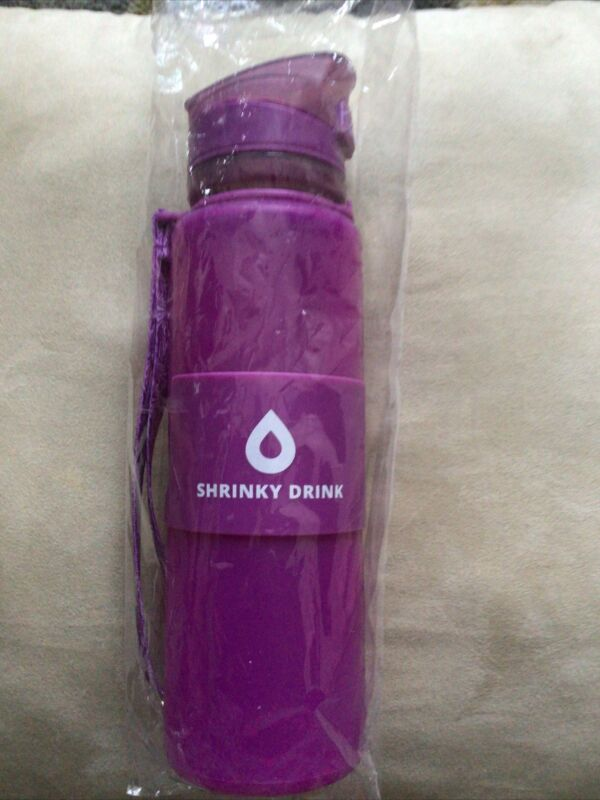 """Shrinky Drink Collapsable Water Bottle 10"""" x 3"""" Rubber"""