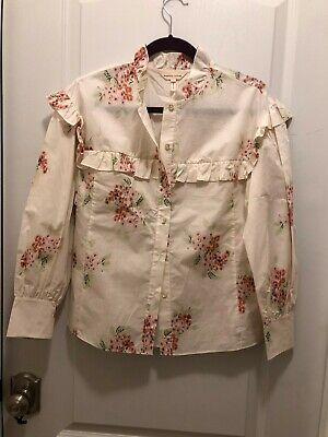 Rebecca Taylor S-2, Maia Ruffled Floral Cotton Poplin Shirt Long Sleeve NWT $295