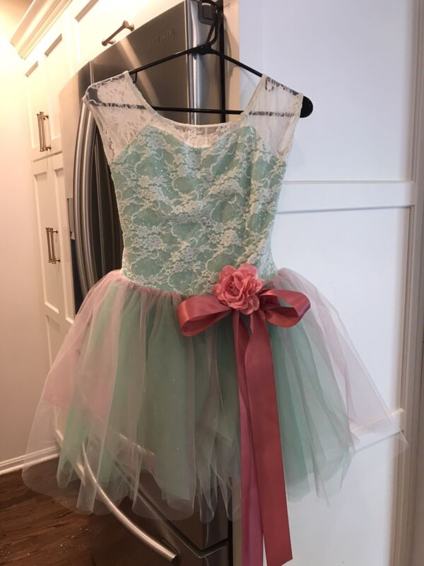 Weissman Child Large Mint And Rose Lace And Sequin Ballet Tutu Costume