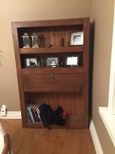 Bookcase with locking desk fold out.