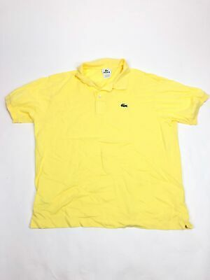 Mens L 6 Lacoste Polo Shirt Yellow Solid Alligator Logo Short Sleeve
