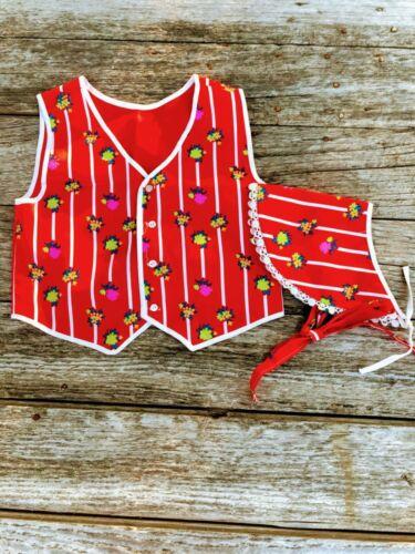 Vintage Girls Handmade Red Stripe Floral Vest Matching Bonnet