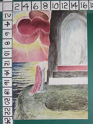 1945 WILLIAM BLAKE PRINT ~ DANTE & VIRGIL AT THE ENTRANCE TO PURGATORY