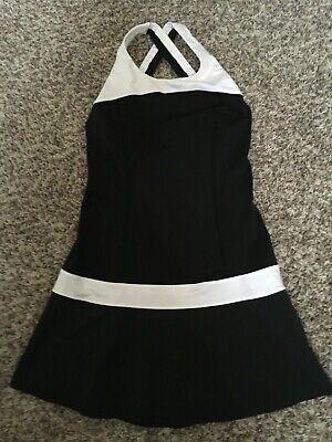 LULULEMON Hot Hitter Dress Mini Cross Back Tennis Running Black/White Size 6