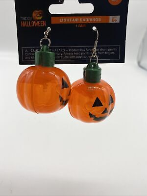 NIB Halloween Light-Up Earrings Pumpkin Jack-O-Lantern Costume Accessory