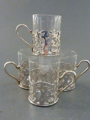 LONDON 1897 SET OF FOUR SILVER MOUNTED TODDY CUPS
