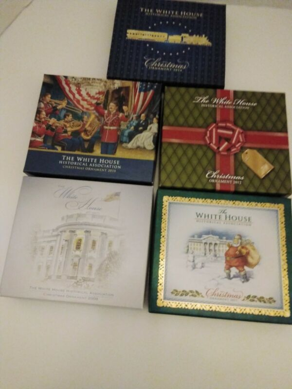 White House Historical Association Christmas Ornaments 2009-2012 +2014 w/ Boxes