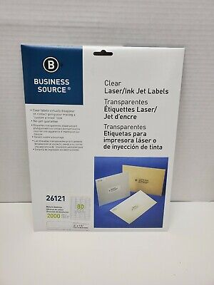 Business Source Clear Address Laser Labels - WHITE, #26121, 2000, 1/2