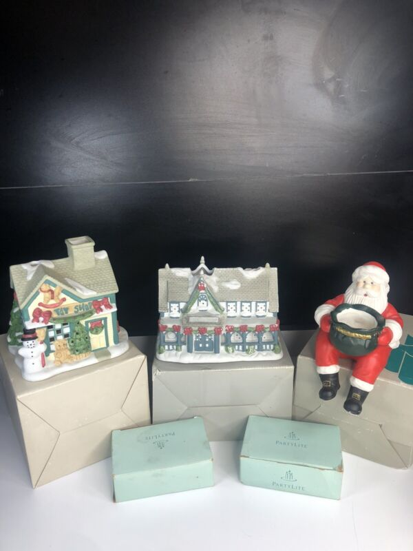 Lot of 3 Partylite Ceramic Candle Holders - Toy Shop, Candle Shop, Sitting Santa