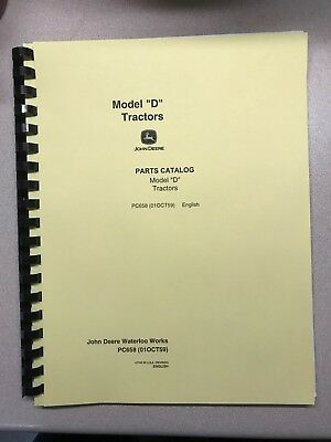 John Deere Unstyled D Tractor Parts Manual - Free Shipping