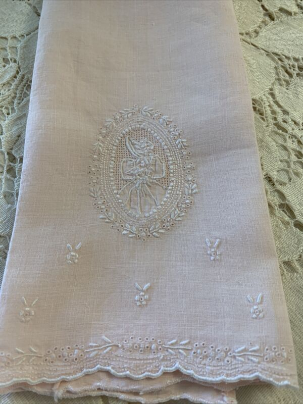 Antique VTG FIGURAL APPENZELL Madeira Embroidery Lace LINEN Pink Hand Towel