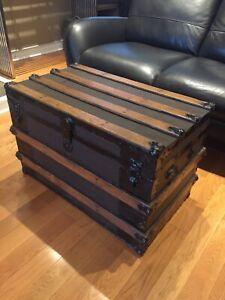 Antique Steamer Trunk - Coffee Table - Oak Slats