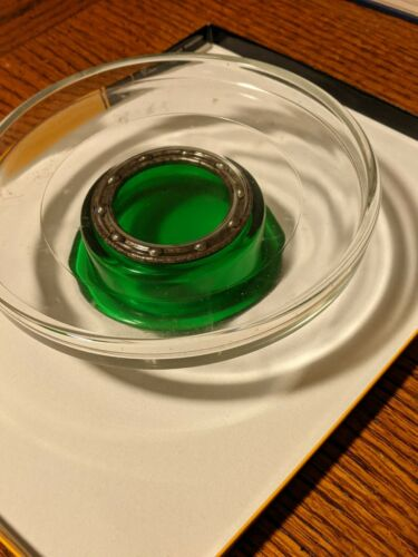Lazy Susan - Forest Green and Clear Glass - unmarked
