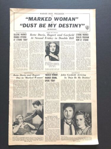 """Marked Woman & Dust Be My Destiny Pressbook (1947) - 12 Pages - 811"""" x 17""""  EX+"""
