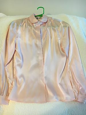 VINTAGE AUTHENTIC ASIAN PALE PINK BLOUSE 100% PURE SILK EMBROIDERED SMALL