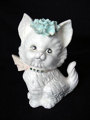 ViNTaGe 60's White Kitten Cat Figurine Child's Piggy Bank RHiNeSToNe EyEs CoLLaR