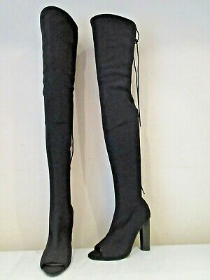 EGO BLACK STRETCH CROTCH HIGH HEEL OPEN TOE PULL ON BOOTS UK 4 (3538) online kaufen