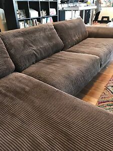 Super soft chocolate brown Plush lounge with huge chaise Enmore Marrickville Area Preview
