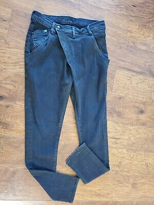 R13 Black Denim Crossover Jeans Size 24 Made in Italy