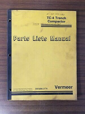 Vermeer Tc-4 Trench Compactor Parts List Manual