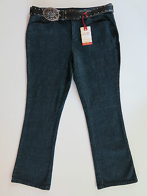 Women's St. John's Bay Relaxed Fit Boot Belt Blue Denim Jeans 14P 14 Petite $69 Belted Bootcut Relaxed Jean