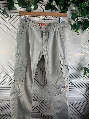 SUPERDRY Mens Cargo Tan Khaki Pants Military Size XL Pockets * Flaw *