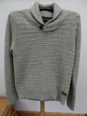 THREADBARE MEN'S WARM GREY KNIT WOOL MIX JUMPER SWEATER SIZE L