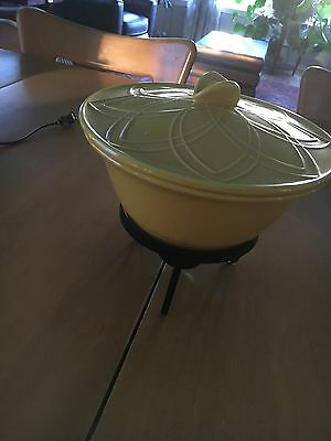 Vintage Retro Chafing Dish Yellow Gorgeous with Metal Stand Holder - USA -