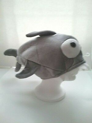 """Costume Shark Hat Plush Velour  Gray with Fins & Teeth 20""""-Lined Six Flags NWOT"""