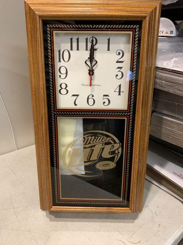 Vintage Miller Lite Beer Wall Clock Pendulum New Never Used Wood Casing Bar Pub