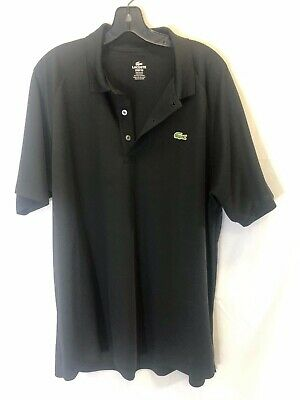 Mens LACOSTE Sport size 7 black short-sleeve collar shirt