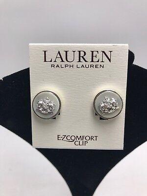 $28 Lauren Ralph lauren silver tone crest & horn look clip on stud earrings JL1
