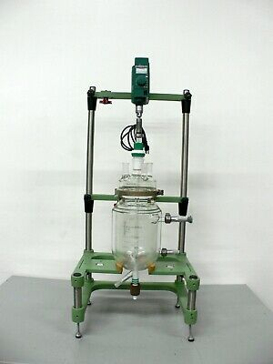 Chemglass 5 Liter Jacketed Glass Reactor W Chemglass Digital Overhead Stirrer