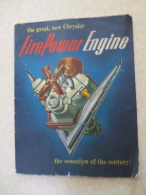 1951 Chrysler FirePower Hemi V8 engine advertising booklet for sale  Shipping to Canada