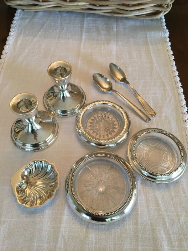ASSORTED STERLING ITEMS ( 2 CANDLESTICK HOLDERS, 2 SPOONS, 3 COASTERS & SHELL )