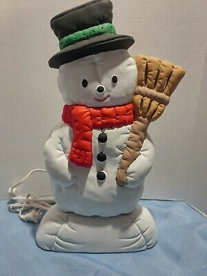 "Vintage Nowell Ceramic Mold Frosty Snowman Light Up Figurine Christmas 15"""