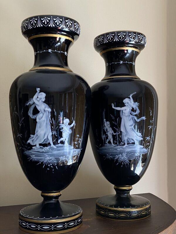 Mary Gregory Pate Sur Pate Enamel Glass Vases Blk Amethyst Urns Cupids Cherubs
