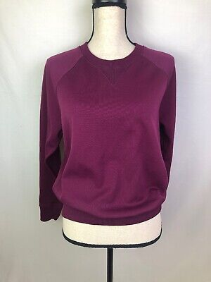 Acne Classic College Sweatshirt Pullover Crewneck Sweater Purple Polyester XS